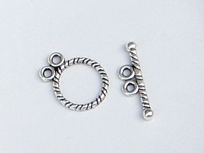 Antiqued Copper Rounded Diamond Shape Textured Toggle Clasp  20mm 1